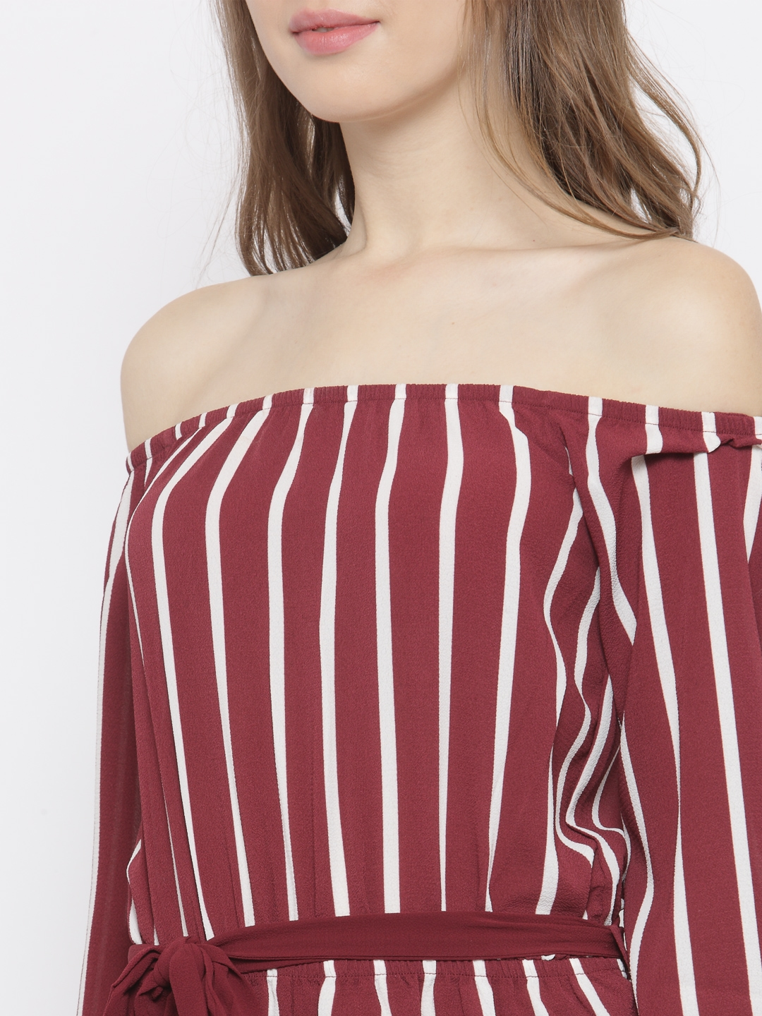 35d5e1092c2a Buy FOREVER 21 Maroon   Off White Off Shoulder Striped Playsuit ...