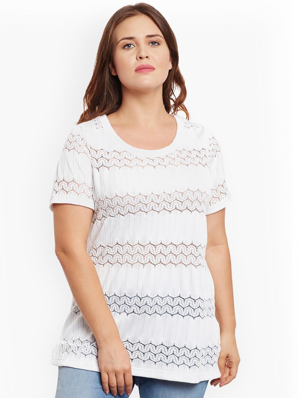 f299363bd18 Buy JUNAROSE Women White Solid Plus Size Blouson Top - Tops for ...