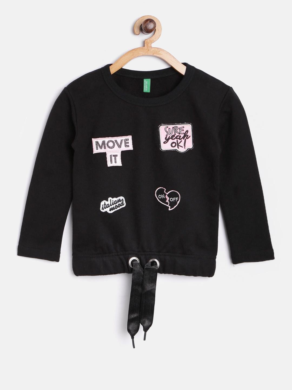 09de98f48d Buy United Colors Of Benetton Girls Black Applique Sweatshirt ...