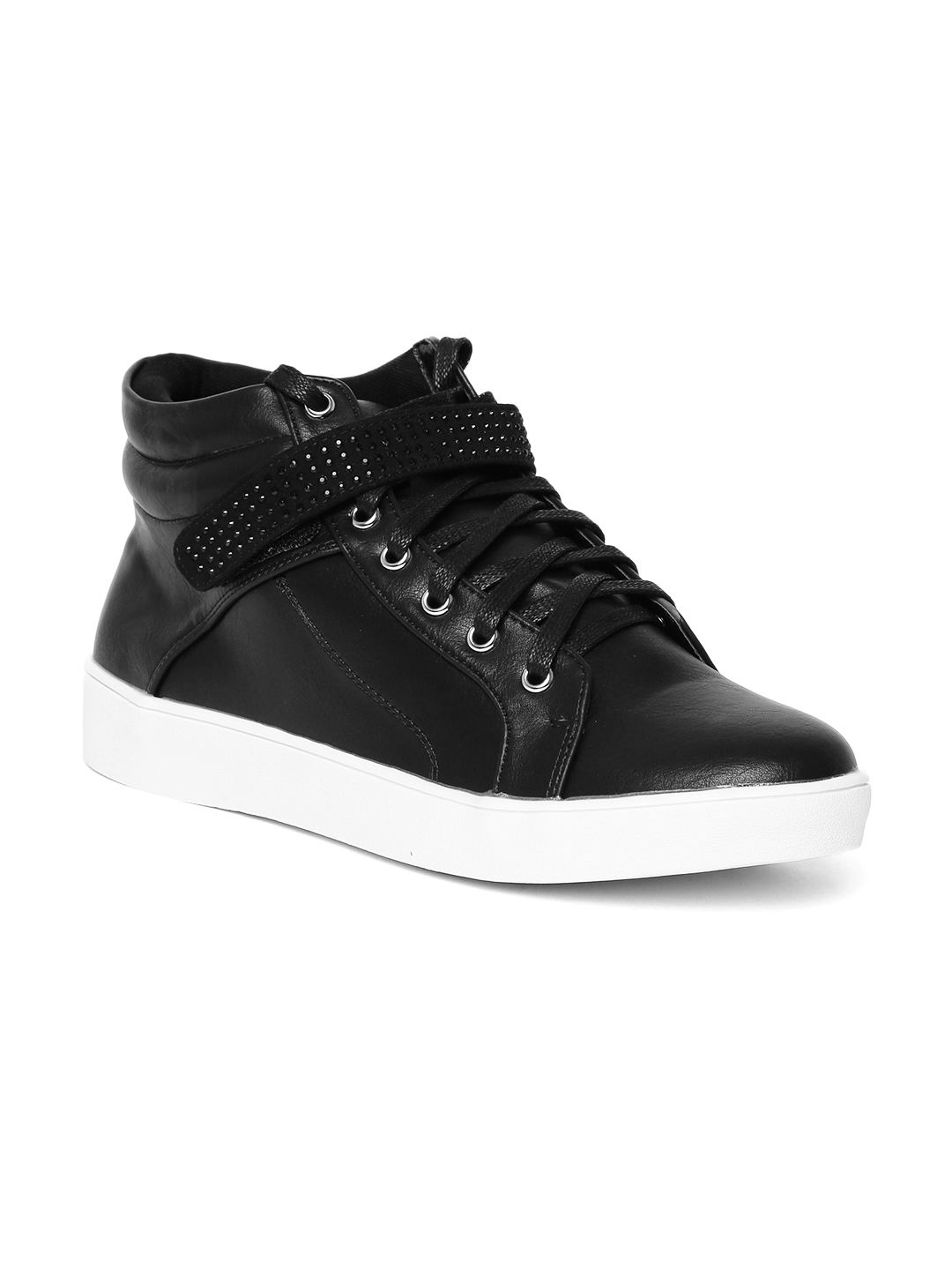 cba08c5301 Buy Carlton London Women Black Solid Mid Top Sneakers - Casual Shoes ...