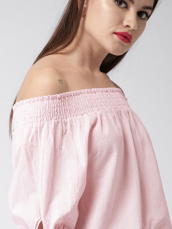 ba4b154e75526d Buy Mast   Harbour Women Pink   White Striped Bardot Top - Tops for ...