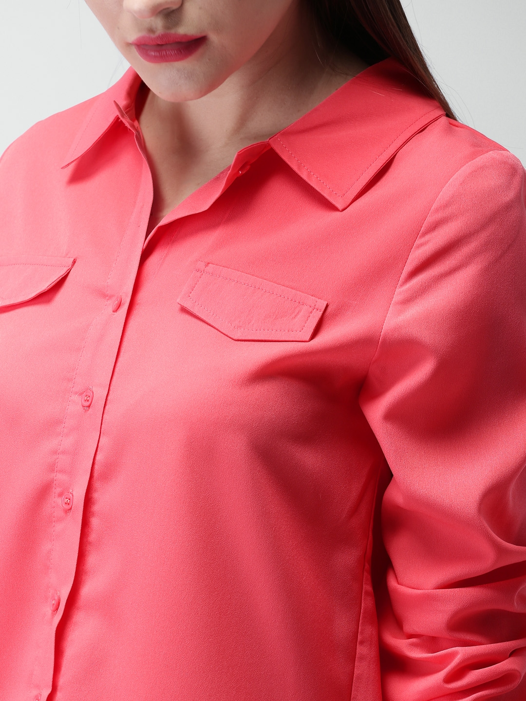Buy Mast Harbour Women Coral Pink Regular Fit Solid Casual Shirt