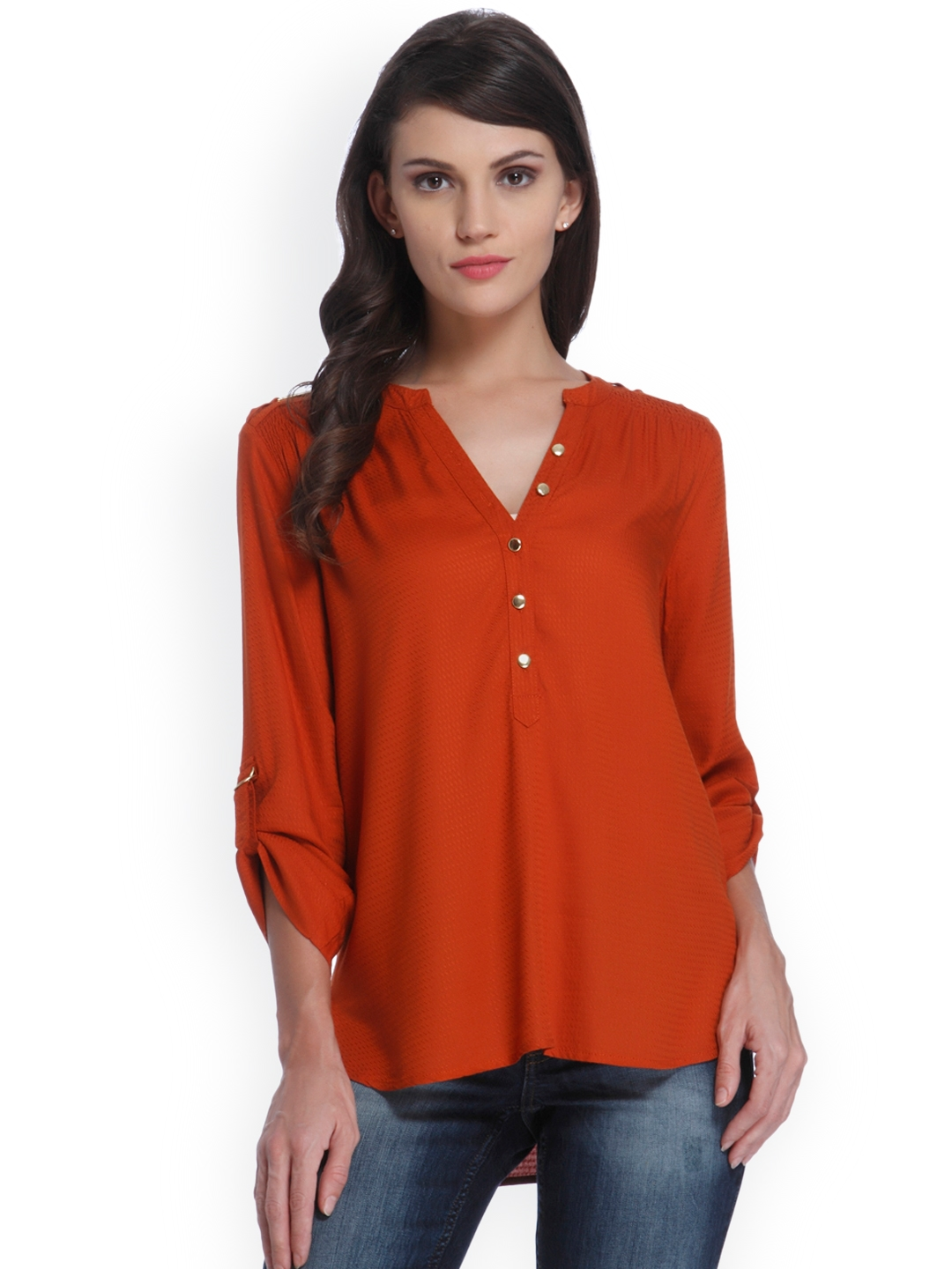 4d2921c716b891 Buy ONLY Women Rust Red Self Design Shirt Style Top - Tops for Women ...