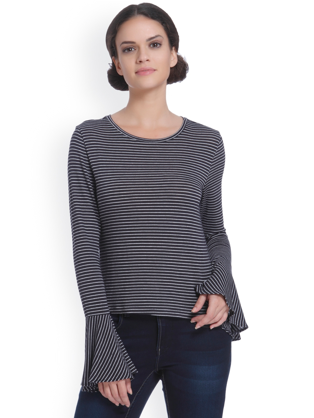ONLY Women Charcoal Grey   White Striped Top