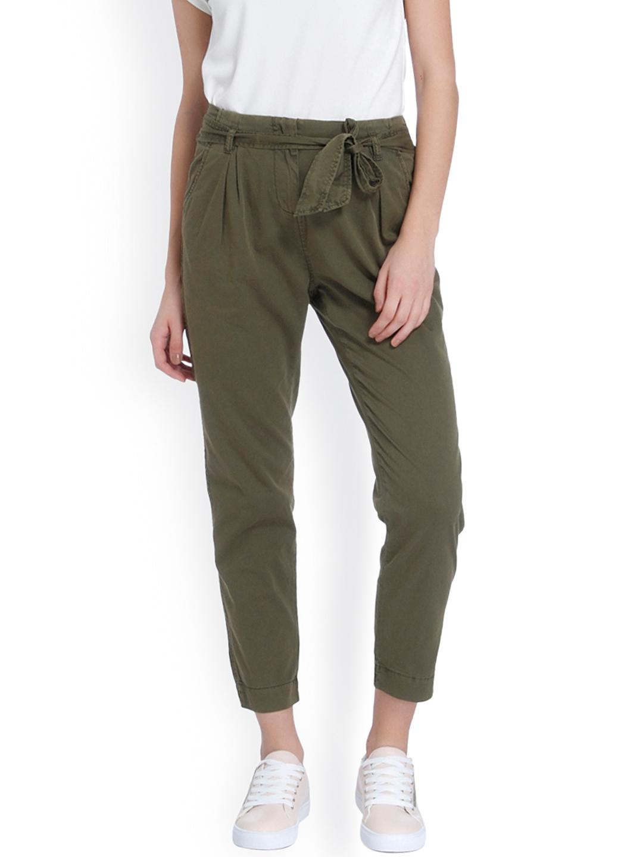 Vero Moda Women Olive Green Classic Regular Fit Solid Peg Trousers