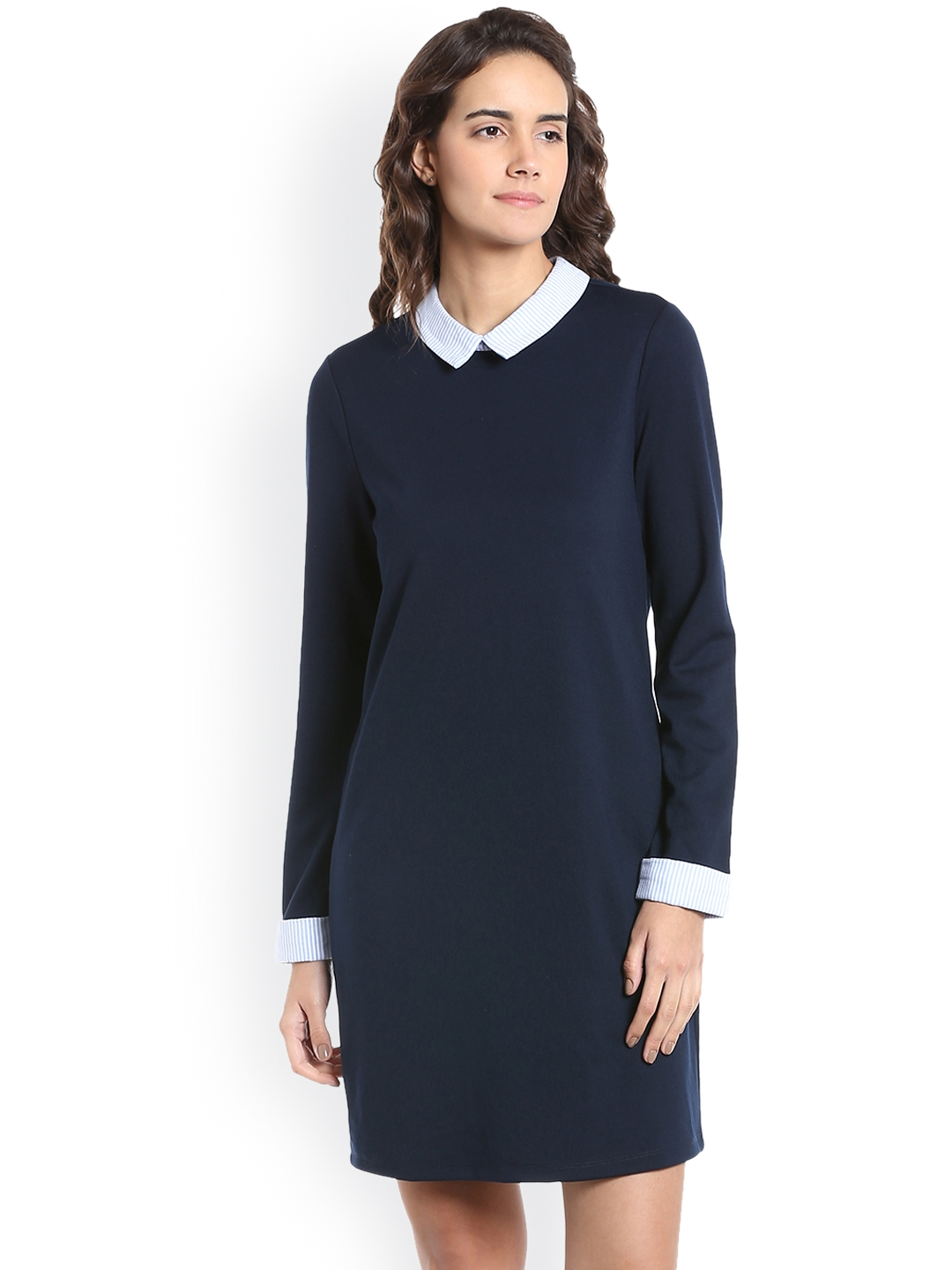 faaeec287af Buy Vero Moda Women Navy Blue Solid A Line Dress - Dresses for Women ...