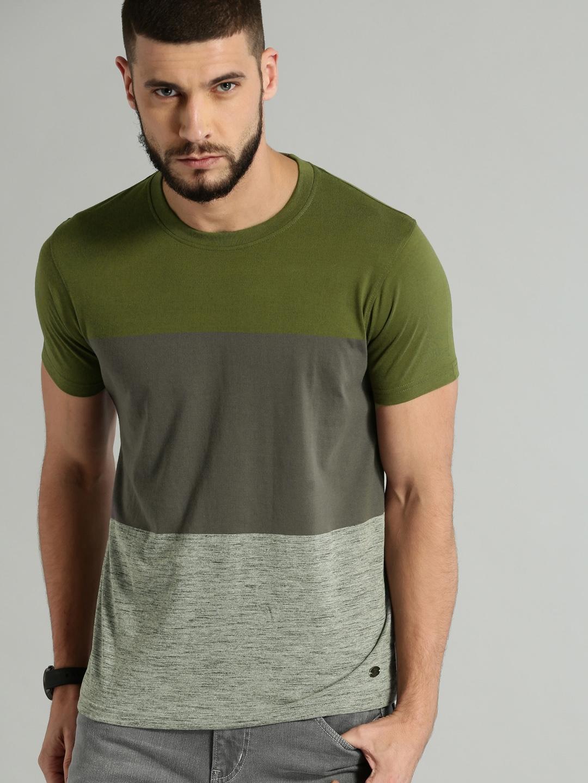 Buy Roadster Men Olive Green Grey Colourblocked Round Neck T Shirt