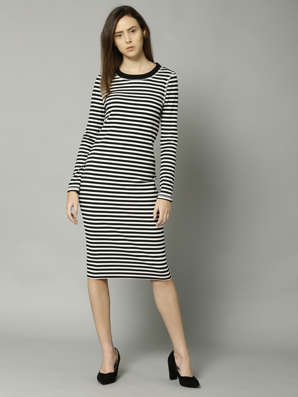 5ab22179a Buy Marks   Spencer Women Black   White Striped Bodycon Dress ...