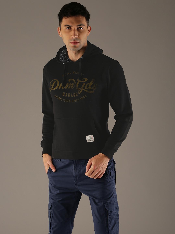 Flying Machine Men Black Printed Hooded Sweatshirt