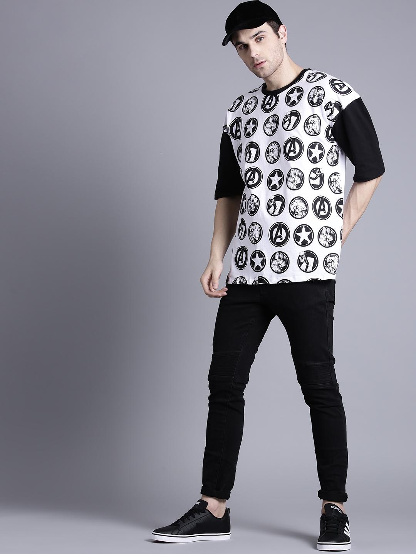 8dbd13627 Kook N Keech Marvel Men White & Black Printed Round Neck Oversized T-shirt