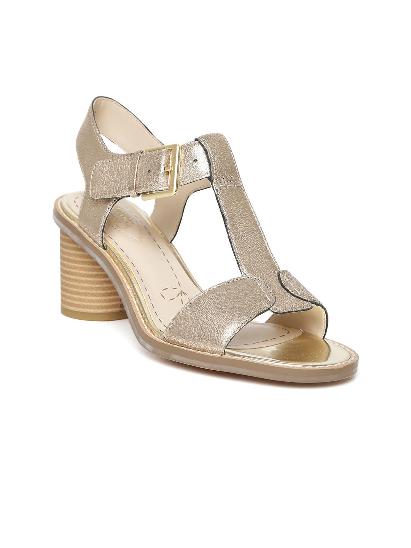 ea1a629ea Buy Clarks Women Gold Toned Solid Leather Block Heels - Heels for ...