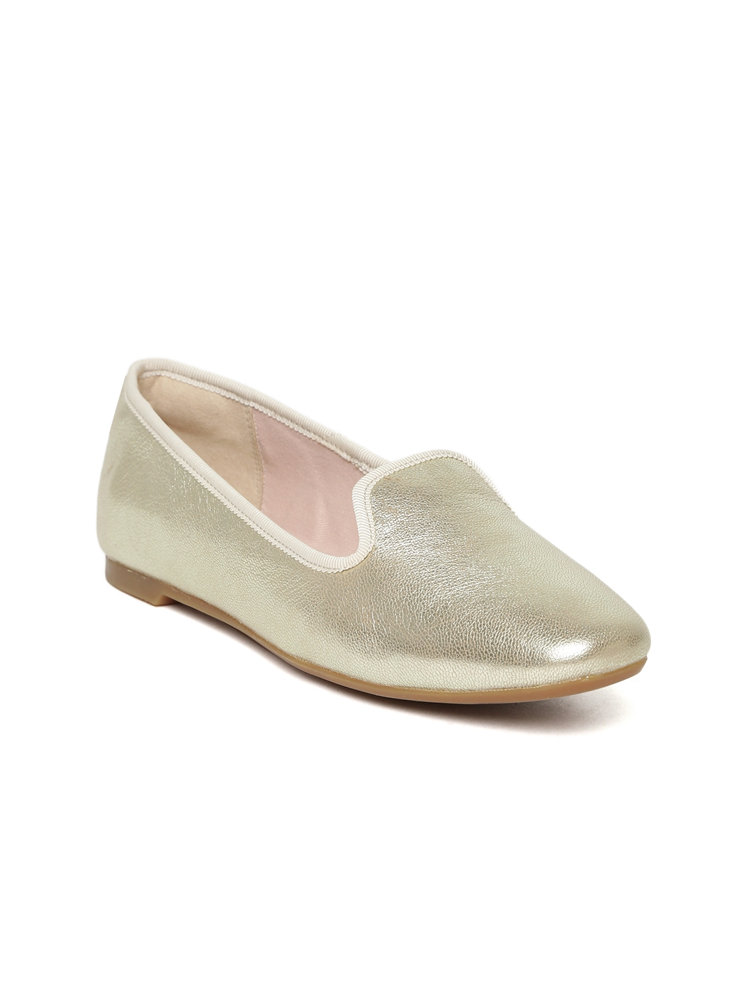 74d9f28c696 Buy Clarks Women Gold Toned Solid Leather Ballerinas - Flats for ...