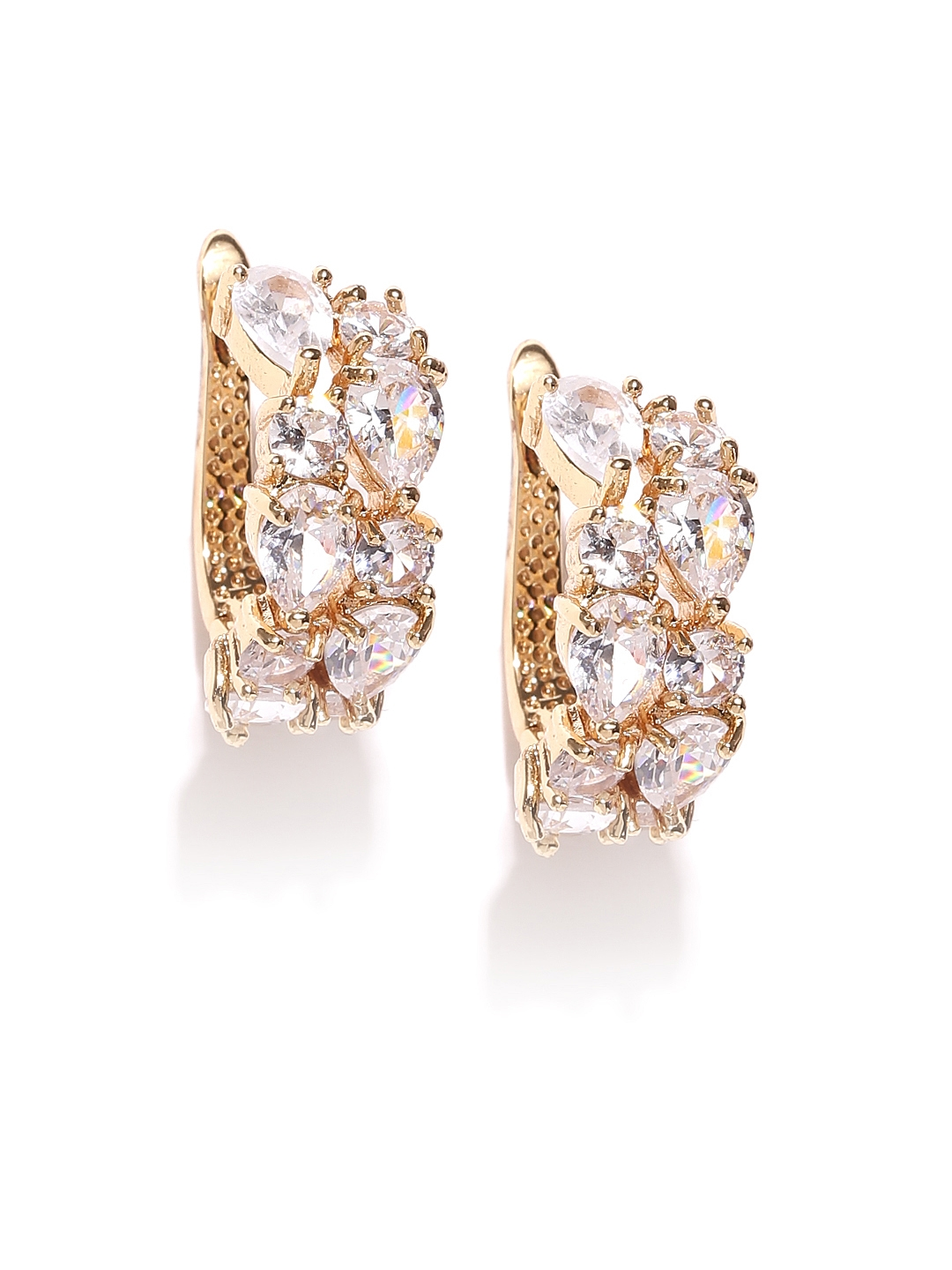 4f89c26307 Jewels Galaxy 18K Gold-Plated CZ Stone-Studded Handcrafted Hoop Earrings