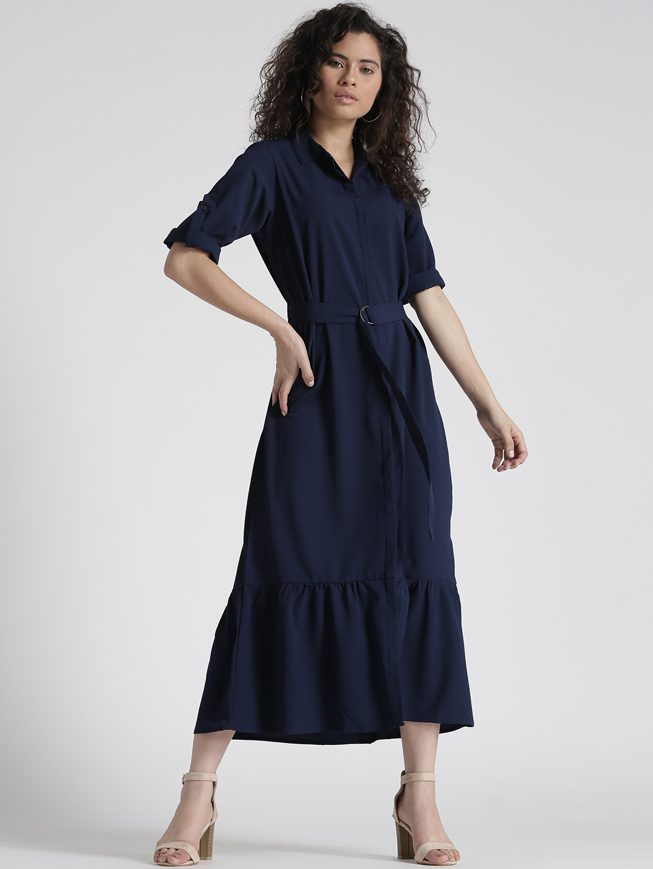 3afde22157e Buy Chemistry Women Navy Blue Solid Belted Midi Shirt Dress ...