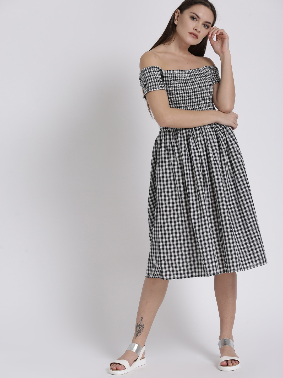 4f6f8101ee3 Buy Chemistry Women Black   White Checked Bardot Dress - Dresses for ...
