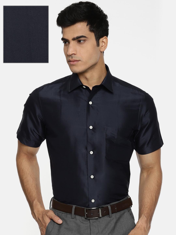 1917954709107 Buy Arrow Men Navy Regular Fit Solid Formal Silk Shirt - Shirts for ...