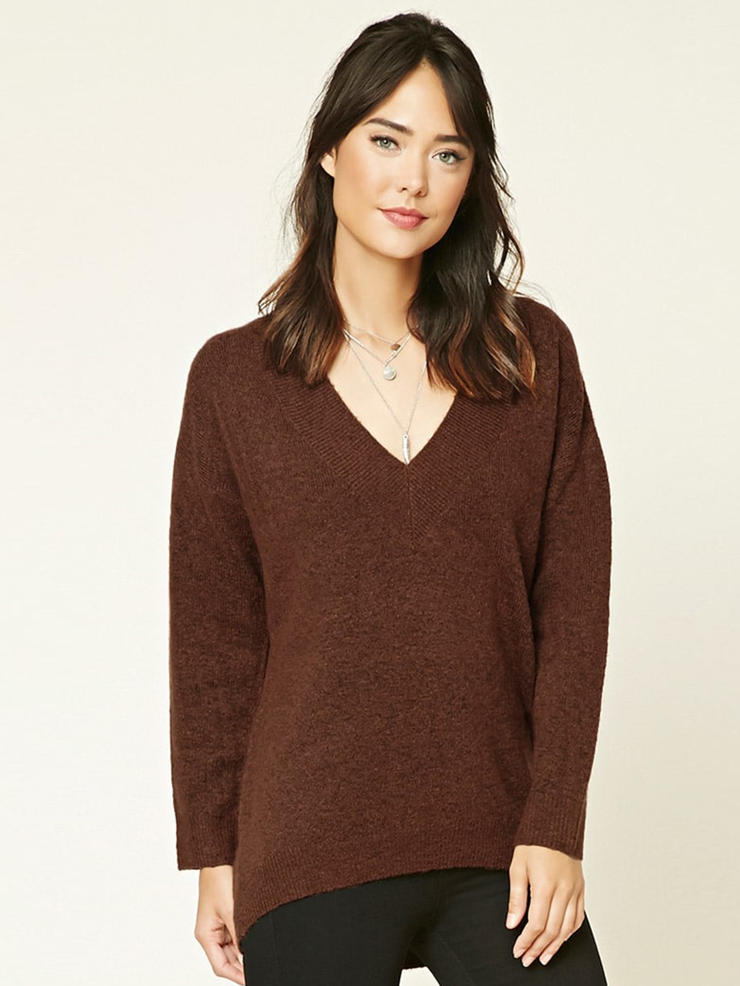 Buy Forever 21 Women Brown Solid Pullover Sweaters For Women