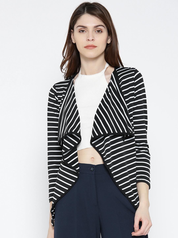 49c36acb57d Buy Noi Black   White Striped Waterfall Shrug - Shrug for Women ...