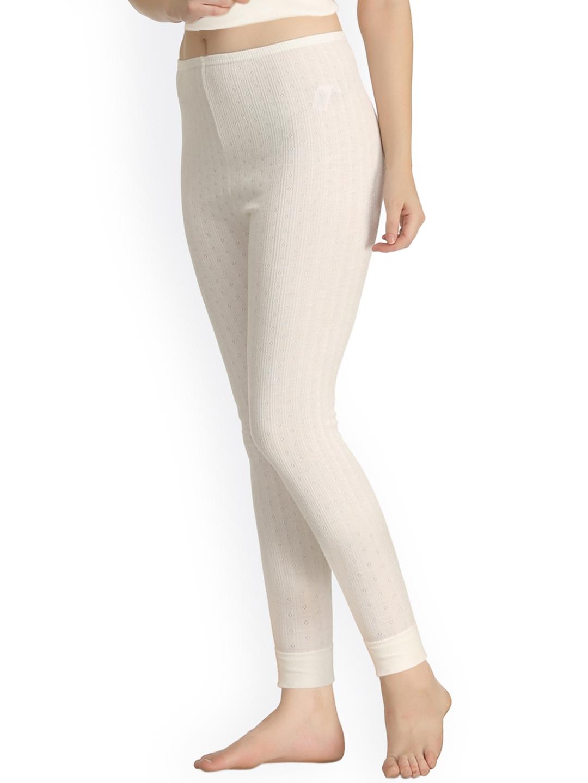 23ac708d947edb Buy Kanvin Off White Self Design Thermal Leggings NEW2170OW2170 ...