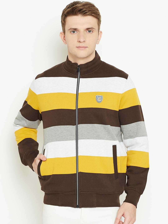 4441dca51 Buy Monte Carlo Men Coffee Brown & Yellow Striped Sweatshirt ...