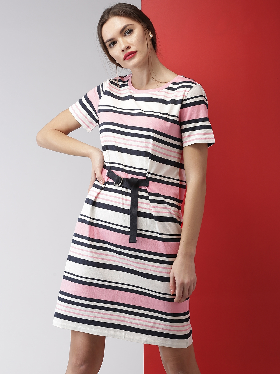 5fa356eaad3d Buy Mast & Harbour Women Pink & White Striped T Shirt Dress ...