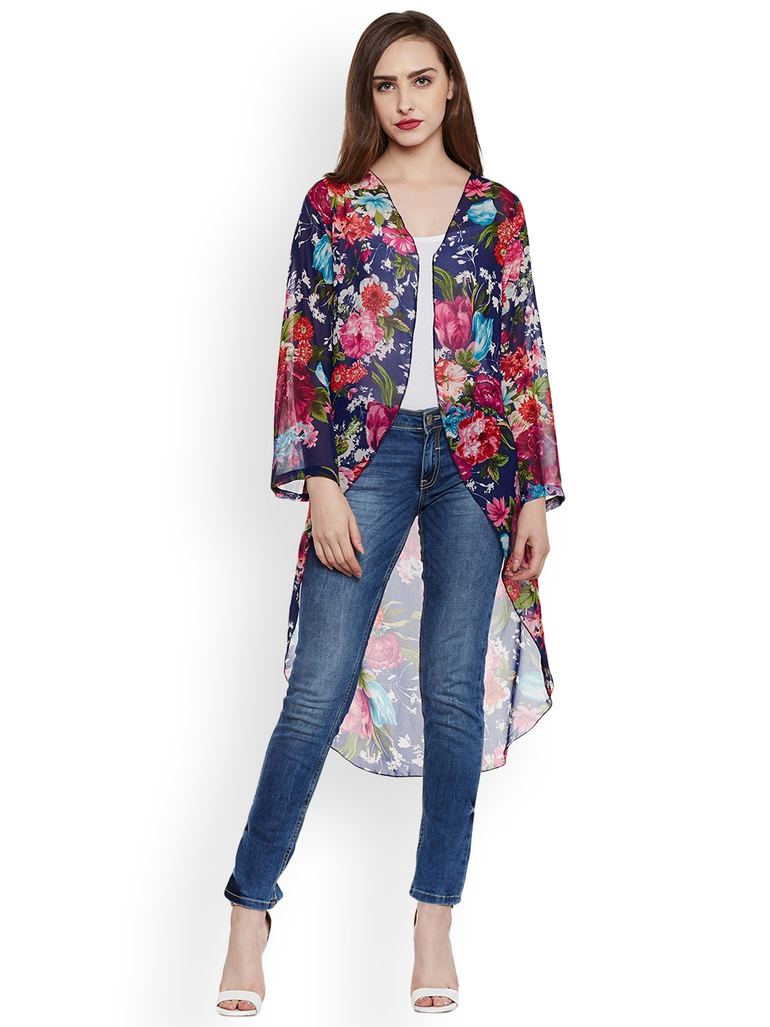 WISSTLER Women Multicoloured Open Front Longline Shrug