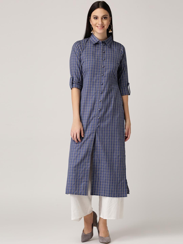 edbada07f Buy Libas Women Blue   Beige Checked Straight Kurta - Kurtas for ...