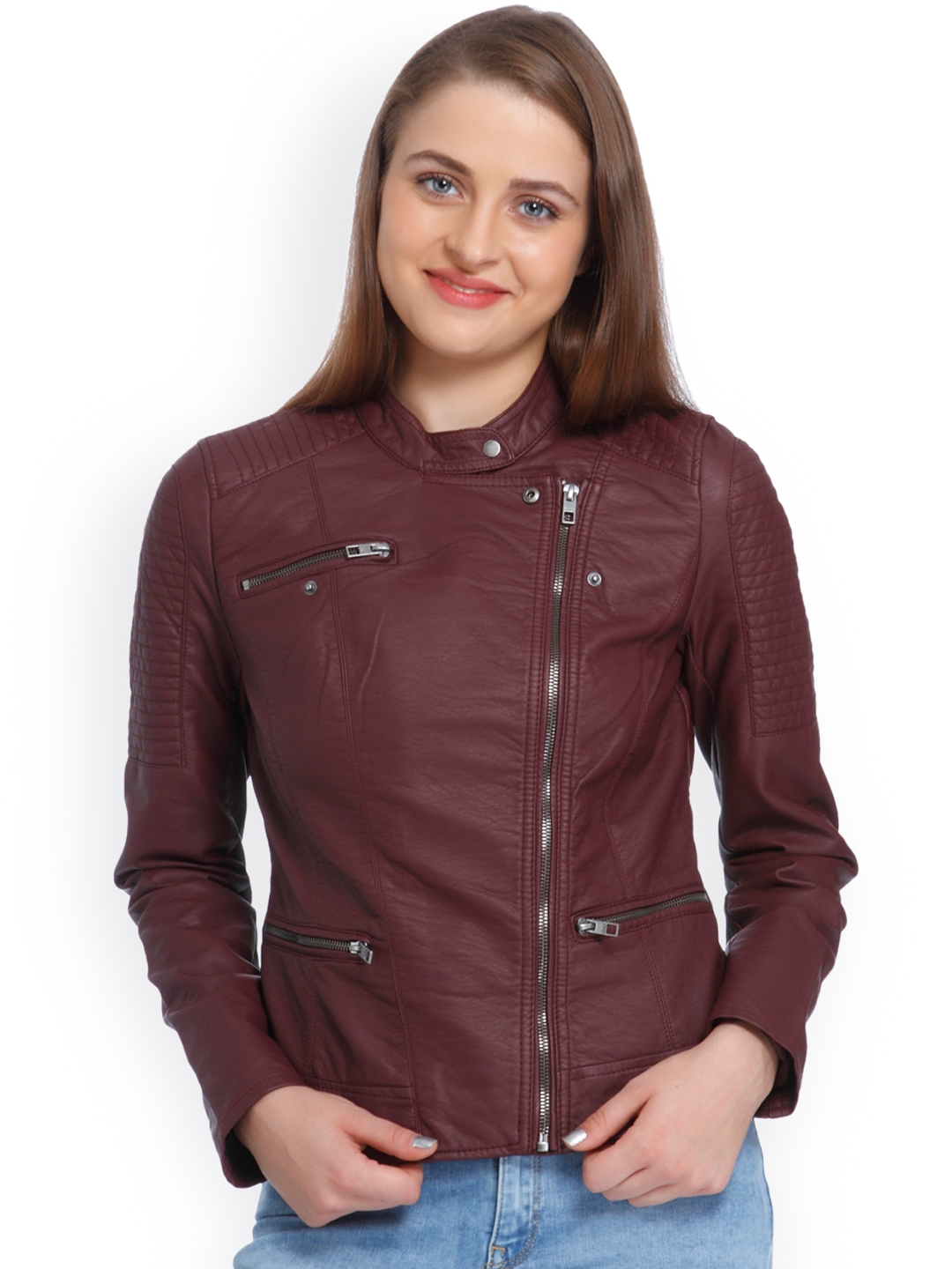 a596468fb86aa ONLY Women Maroon Solid Biker Jacket. This product is already at its best  price