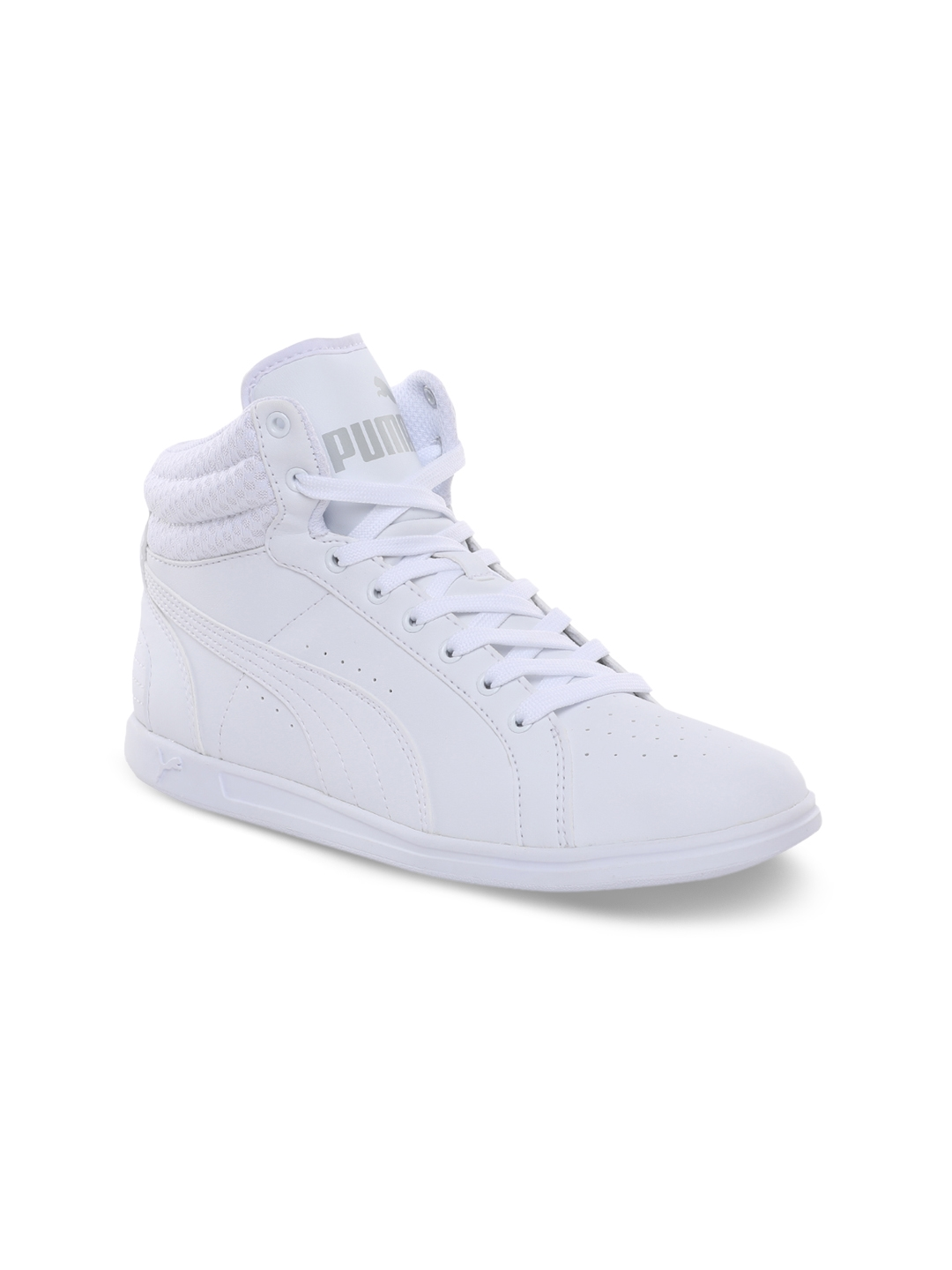b71b6c671e3a5 Buy Puma Women White Solid Synthetic Leather Mid Top Sneakers ...