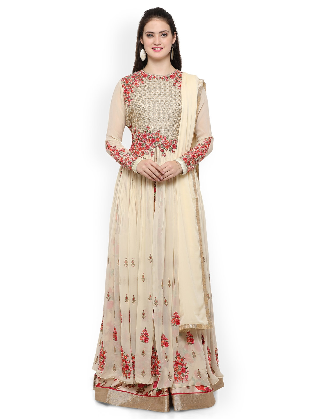 c75fe092db Buy RIYA Cream Coloured Poly Georgette Unstitched Dress Material ...