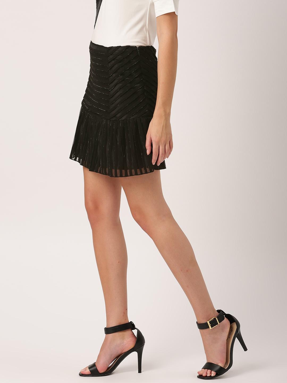 9d24d34fcc3 Buy DressBerry Black Striped A Line Mini Skirt - Skirts for Women ...