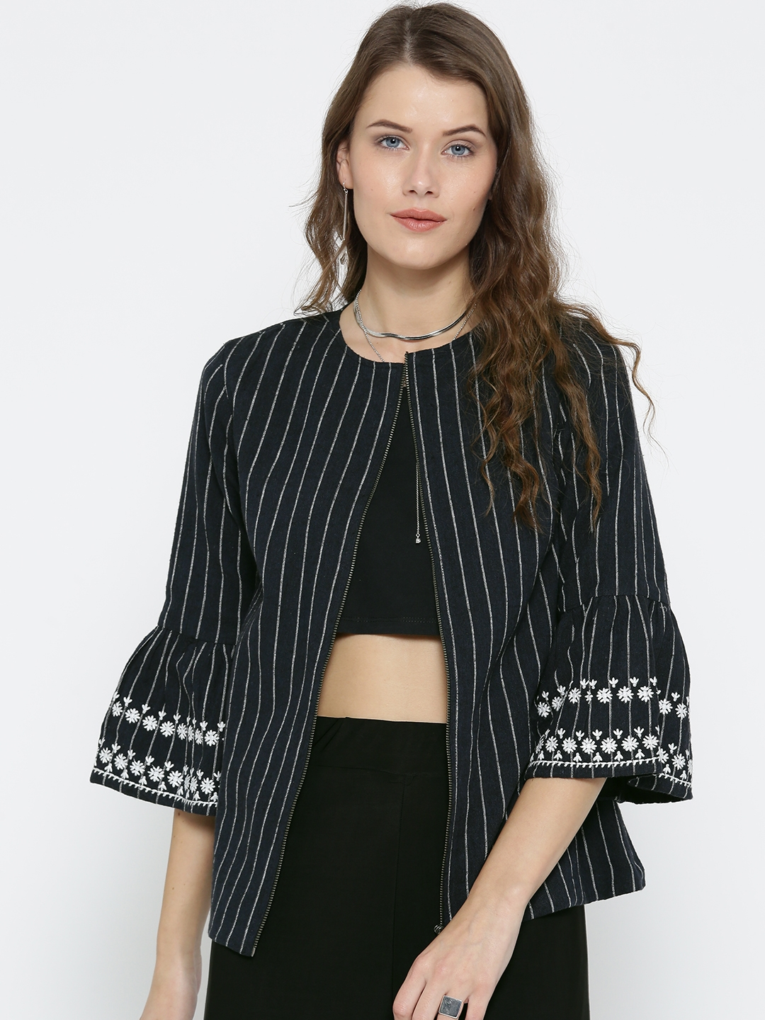 Buy SCOUP Women Navy Blue Striped Tailored Jacket - Jackets for ... 7c8551fcd