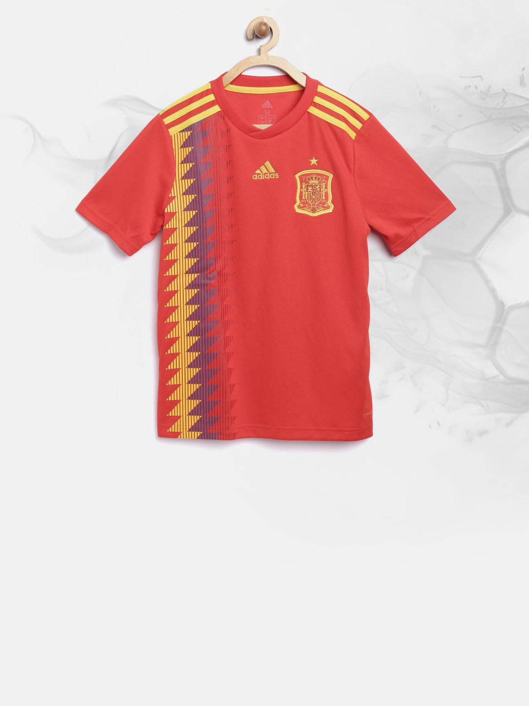 99e2fdf8b Buy ADIDAS Boys Red Football Spain Home Jersey Printed Round Neck T ...