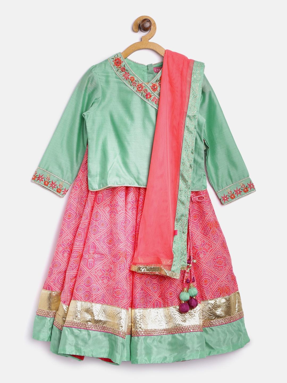6cb83e3dbc1192 Biba Girls Pink & Green Bandhani Print Lehenga Choli with Dupatta