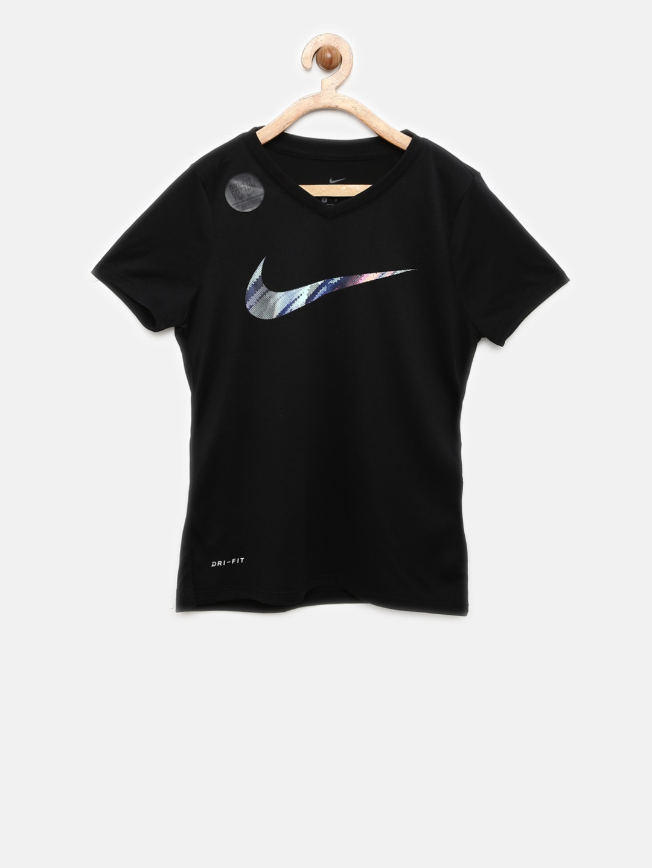 0057398f Buy Nike Girls Black Solid Sports T Shirt - Tshirts for Girls ...