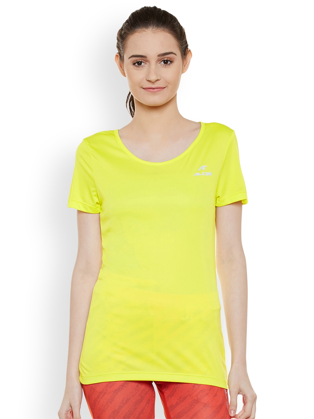 bff975aa Buy Alcis Women Yellow Solid V Neck Slim Fit T Shirt - Tshirts for ...