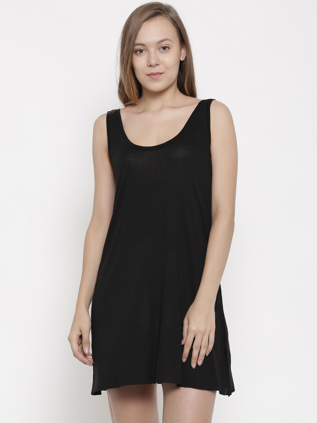 pink woman Black Solid A Line Dress