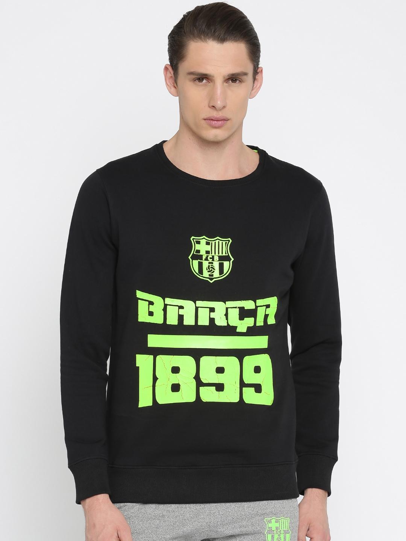 36d21b7c9 Buy FC Barcelona Men Black   Fluorescent Green Printed Sweatshirt ...