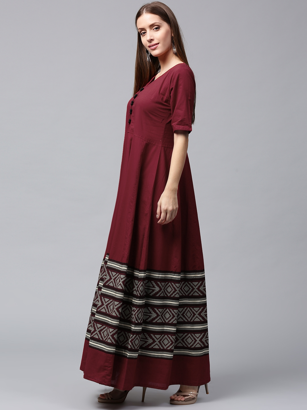 3f0ccf2c9 Buy Nayo Women Maroon Printed Anarkali Kurta - Kurtas for Women ...