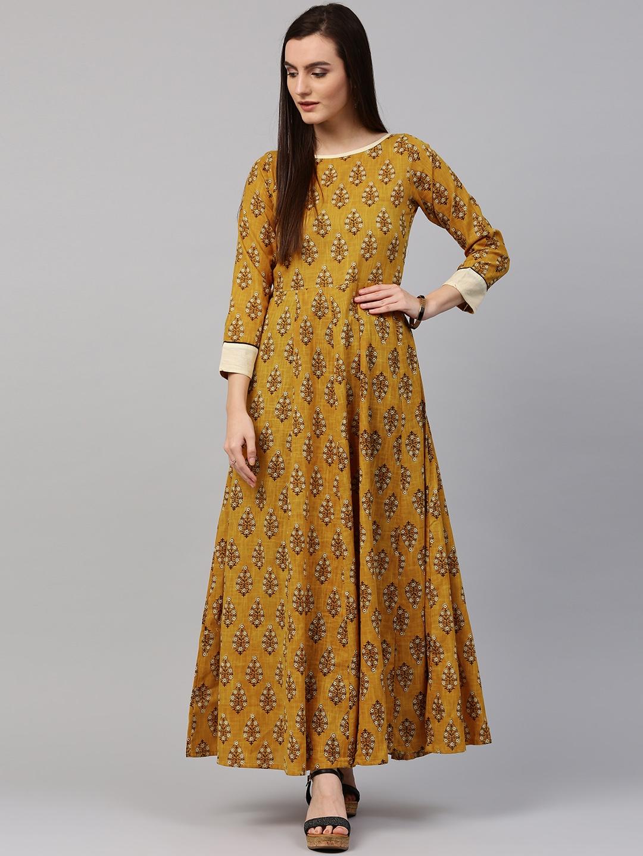 d92786091 Buy Nayo Women Mustard Yellow Printed Anarkali Kurta - Kurtas for ...