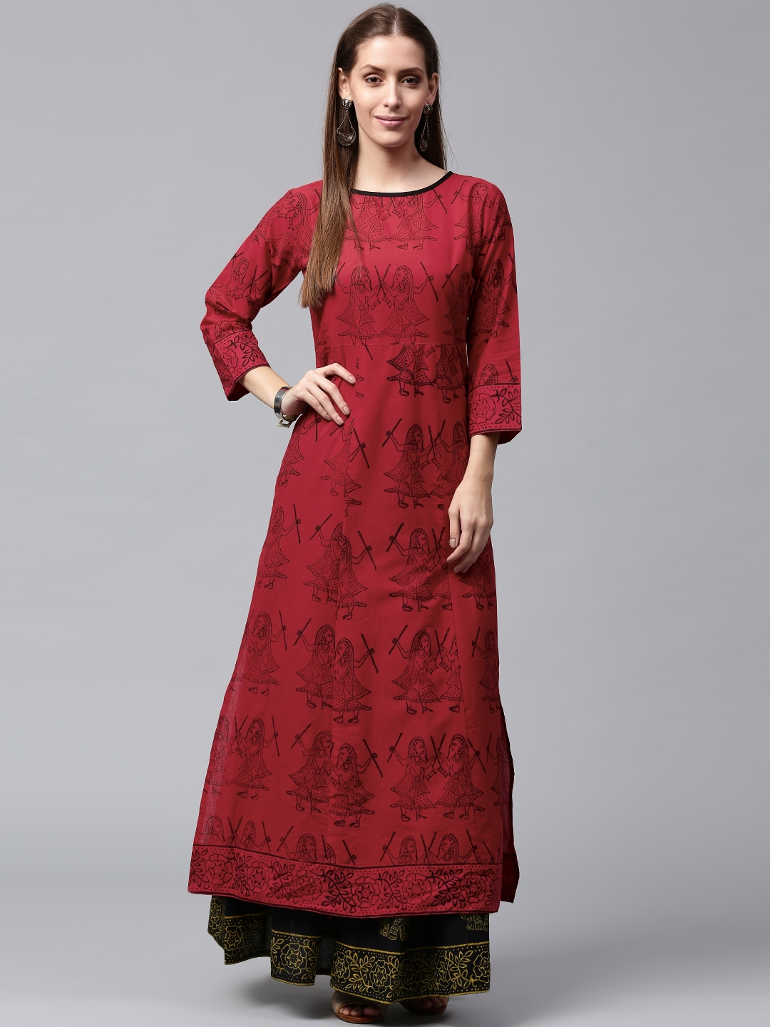 b9a484117 Buy Nayo Women Red   Black Printed Kurta With Skirt - Kurta Sets for ...