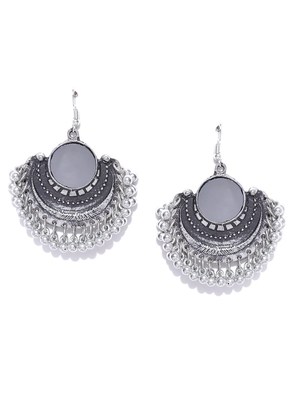 2c2d63938 Buy Infuzze Oxidised Silver Toned Mirror Drop Earrings - Earrings ...