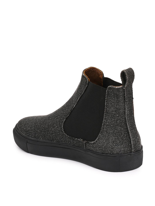 8ba5705b3b34cb Buy Guava Men Black Solid Canvas Mid Top Chelsea Boots - Casual ...