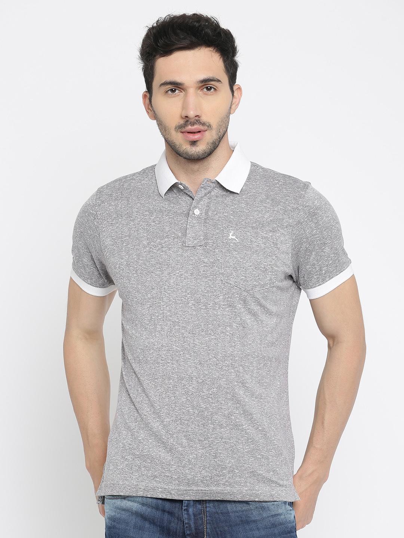 44707fb8 Buy Parx Men Grey Melange Self Design Polo Collar T Shirt - Tshirts ...