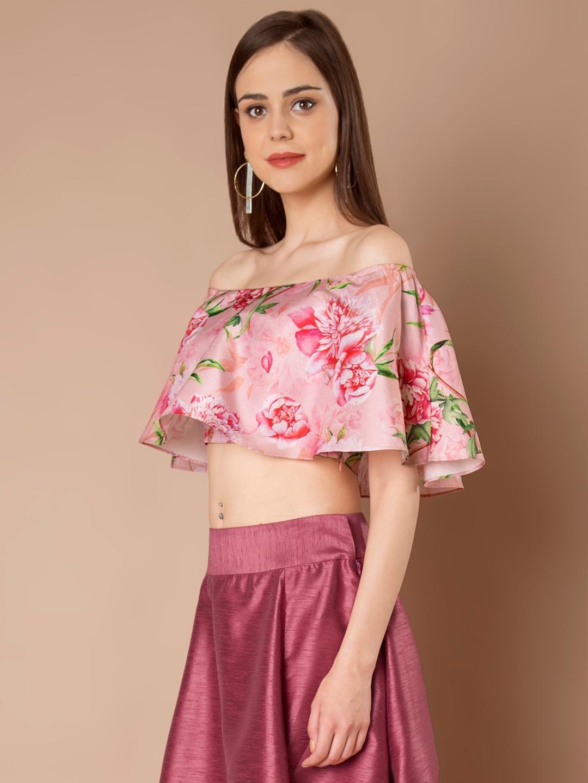 578345bdd19cb2 Buy INDYA Women Pink Printed Off Shoulder Crop Top - Tops for Women ...