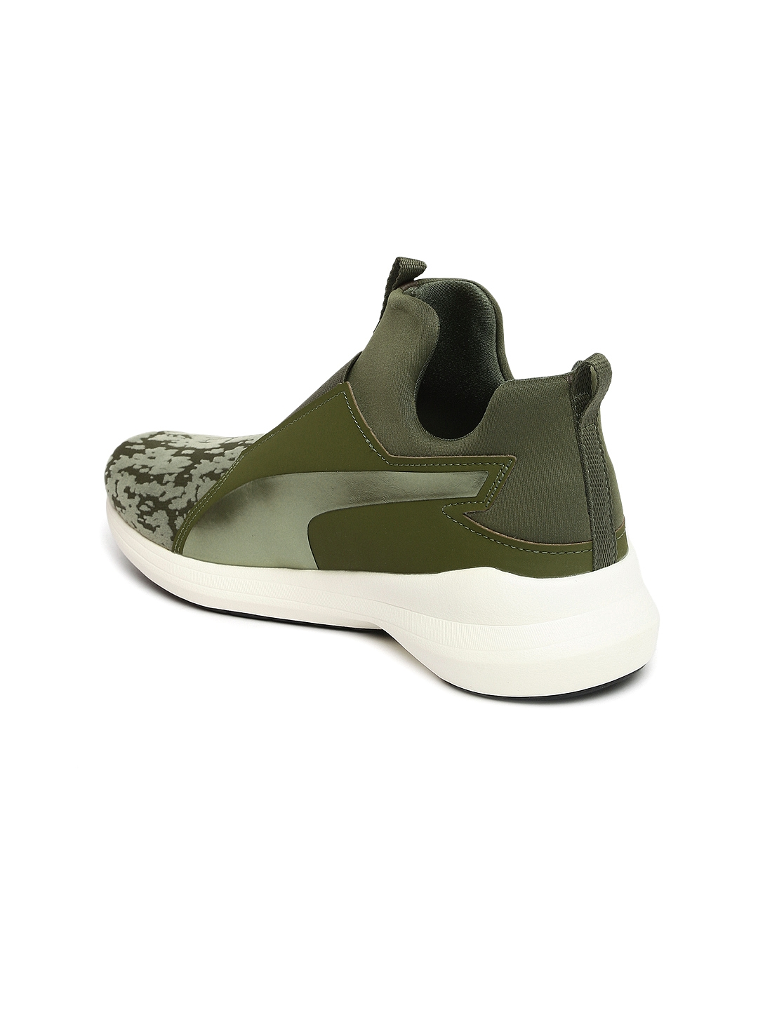 af9324a3921bb4 Buy Puma Women Olive Green Solid Mesh Mid Top Slip On Sneakers ...