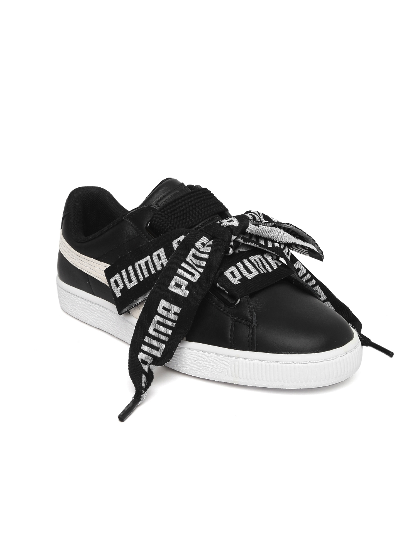 fc308d12a11f Buy Puma Women Black Basket Heart DE Leather Sneakers - Casual Shoes ...