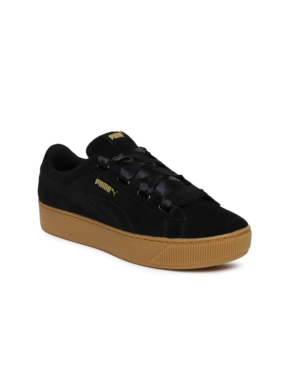 9b1563813458 Buy Puma Women Black Suede Vikky Platform Sneakers - Casual Shoes ...