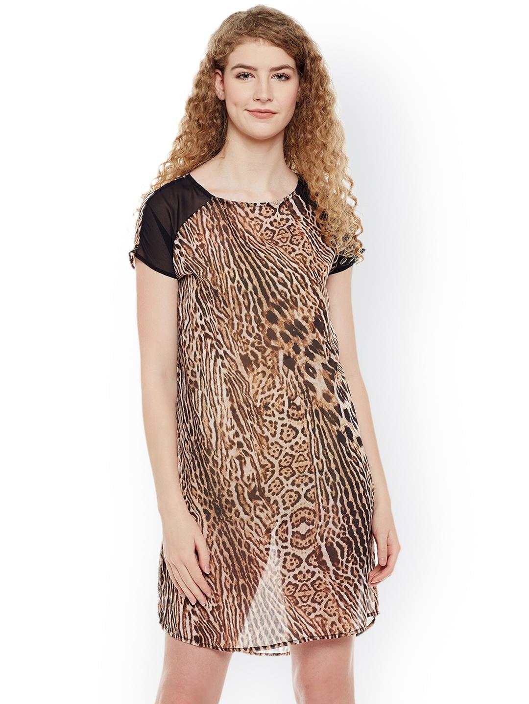 Buy Oxolloxo Brown   Black Animal Print Night Dress W17122WNW001 ... 2ac4af7c4