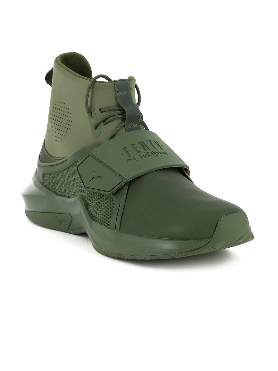Buy Puma Women Olive Green Solid Leather High Top Sneakers - Casual ... b98bacfd3